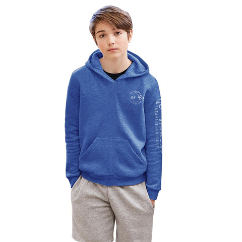 Next Fleece Pull Over Hoodie For Boys-Blue Melange-BE3736