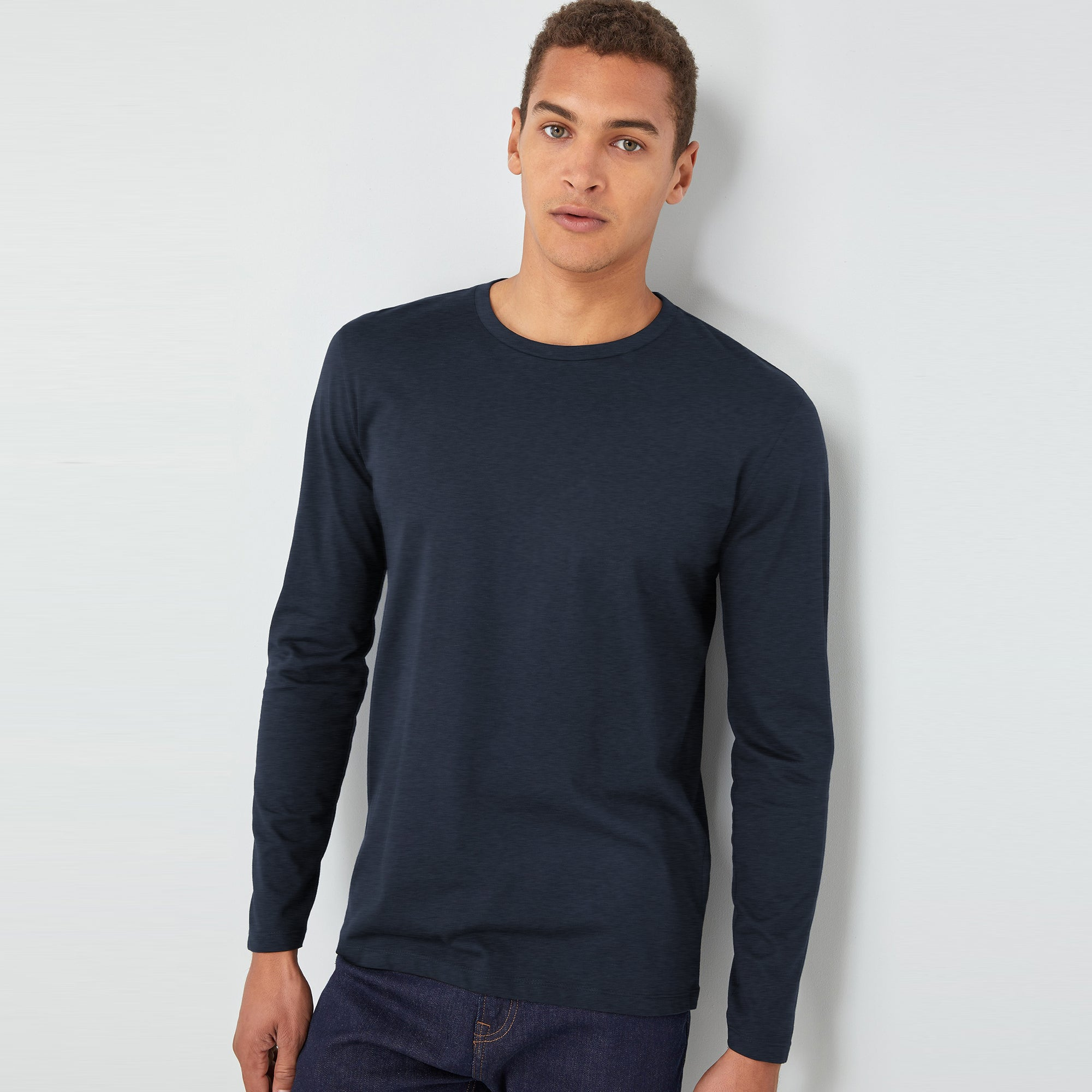 Beverly Hills Single Jersey Long Sleeve Tee Shirt For Men-Navy Melange-BE8893