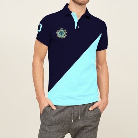 Mens Louis Vicaci Milano Muscel Fit Light Navy & Cyan Rugby Polo Shirts -RP32