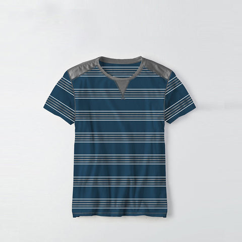 Kids Kroner Striped T Shirt-Dark Cyan-KKTS04