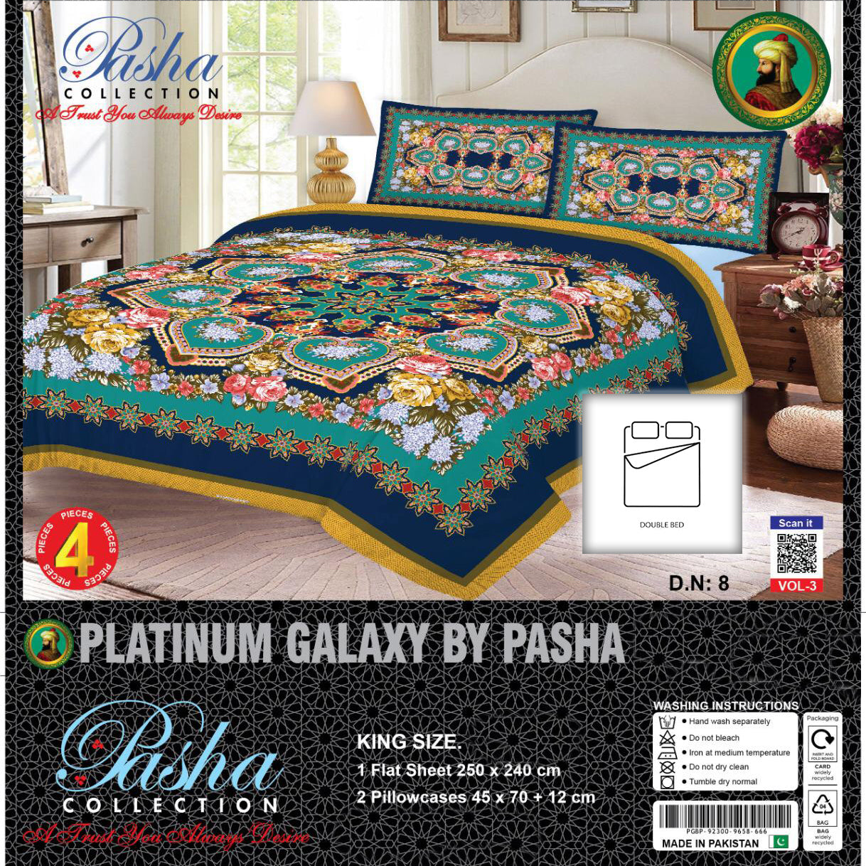 Pasha Collection Platinum Galaxy King Size Bed Sheet-NA10577