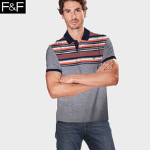 F&F Polo Shirt For Men-Gray Melange with Orange Stripe Panel-BE2457