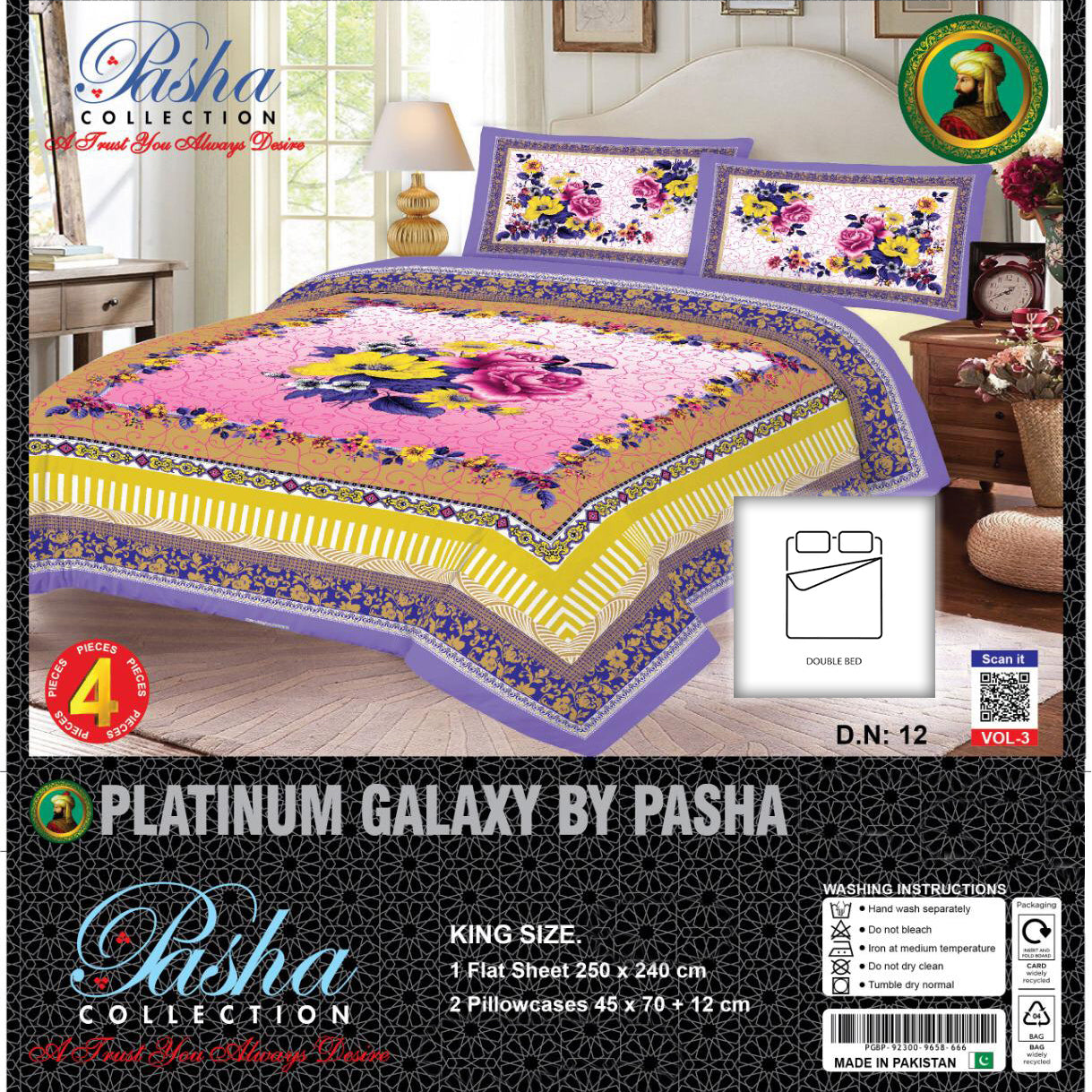 Pasha Collection Platinum Galaxy King Size Bed Sheet-NA10578