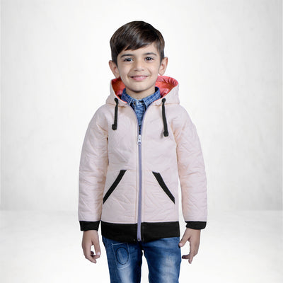 Tommy Hilfiger Quilted Zipper Hoodie For Kids-Light Pink-NA10130