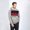 New Stylish Fleece Pullover Hoodie For Men-Grey Melange With Dark Navy & Light Red Panels-SP1651