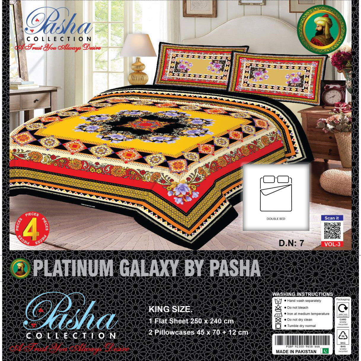 Pasha Collection Platinum Galaxy King Size Bed Sheet-NA10586