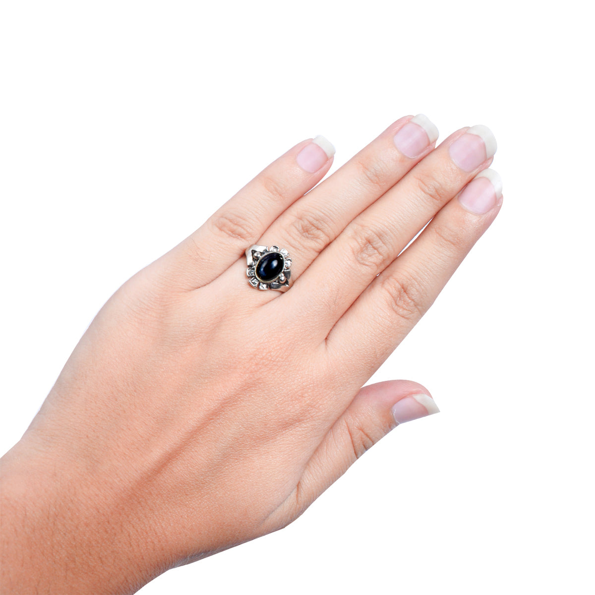 Stylish Rings Silver With Black Stone -JW078