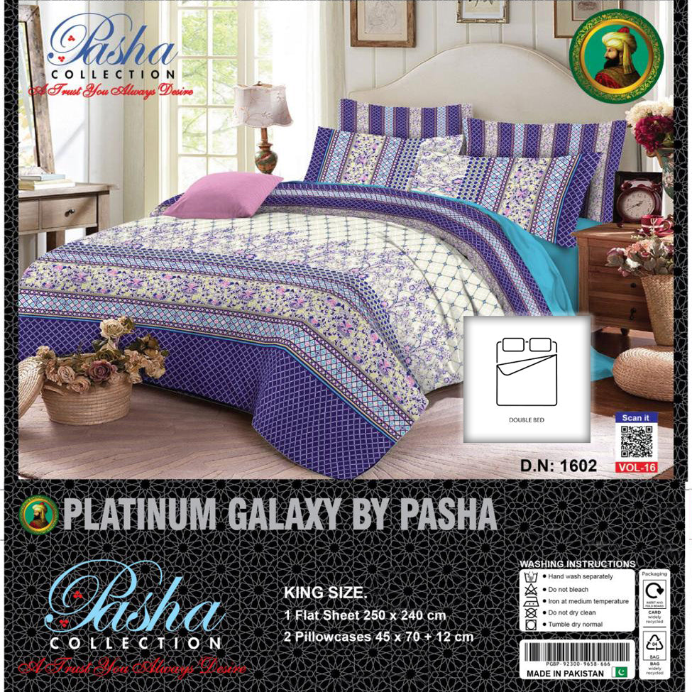 Pasha Collection Platinum Galaxy King Size Bed Sheet-NA10589