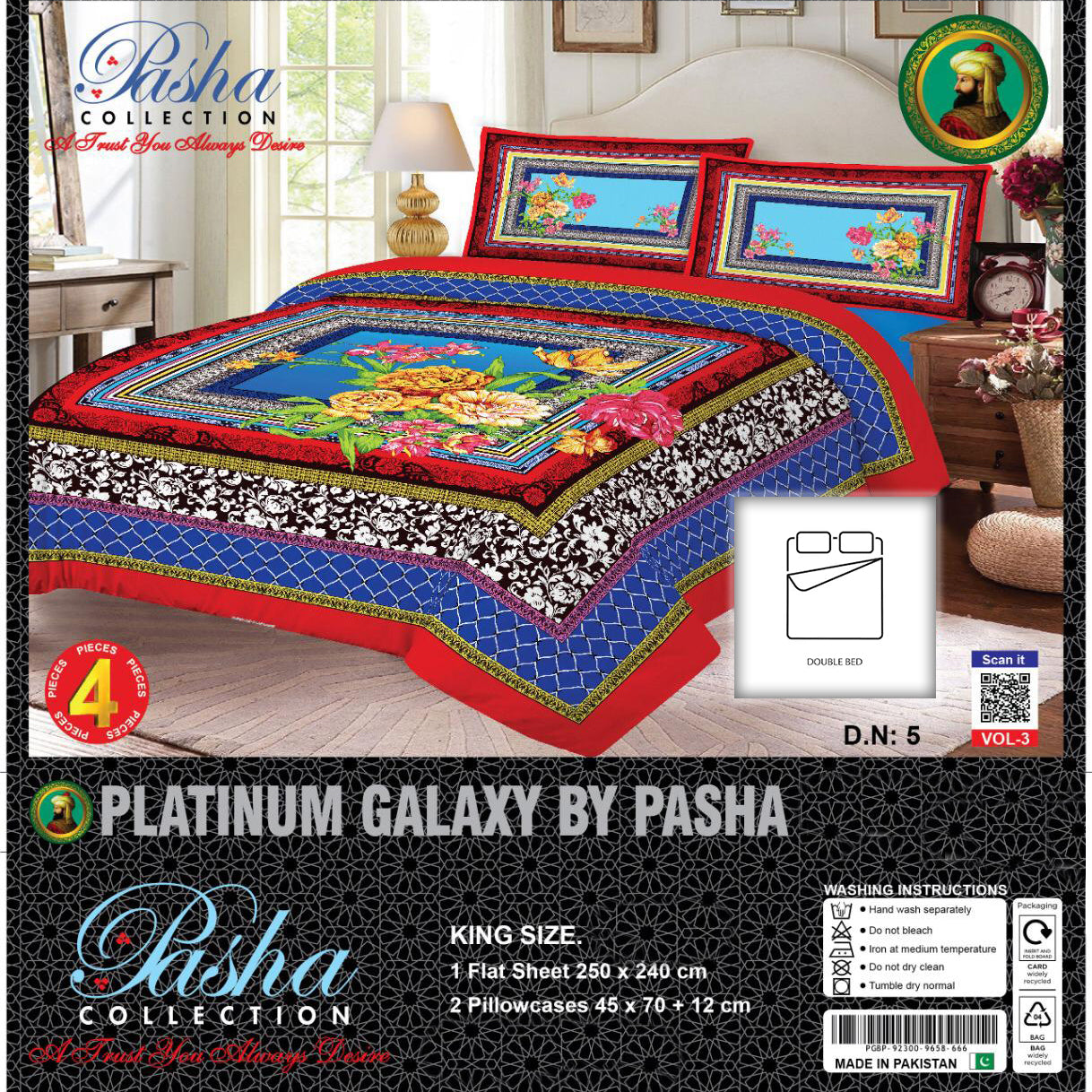 Pasha Collection Platinum Galaxy King Size Bed Sheet-NA10590