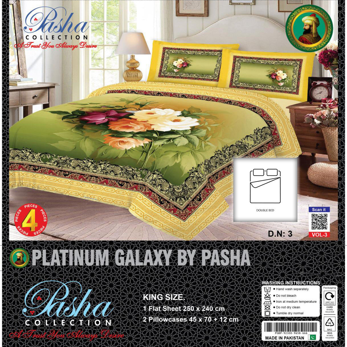 Pasha Collection Platinum Galaxy King Size Bed Sheet-NA10591