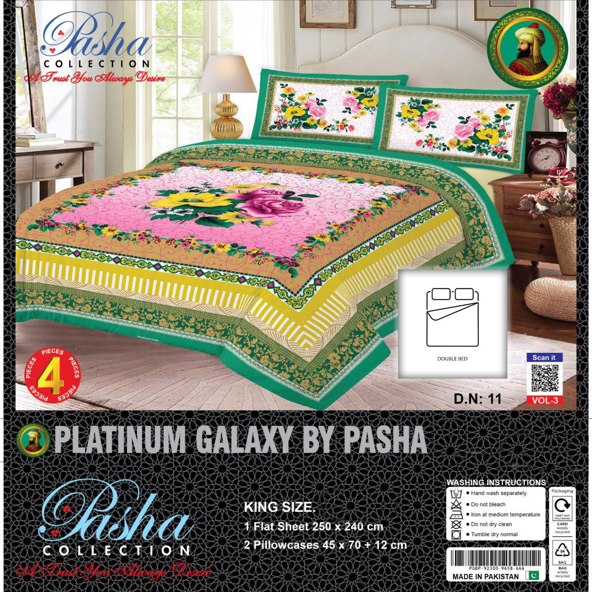 Pasha Collection Platinum Galaxy King Size Bed Sheet-NA10592