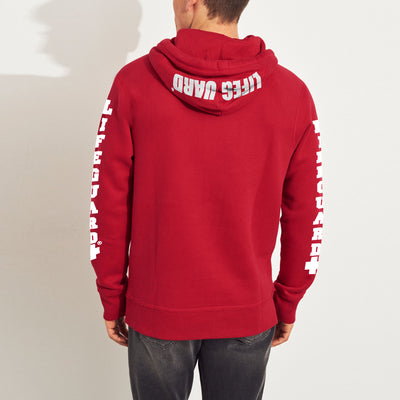 Life Guard Fleece Pullover Hoodie For Men-Red-NA9787