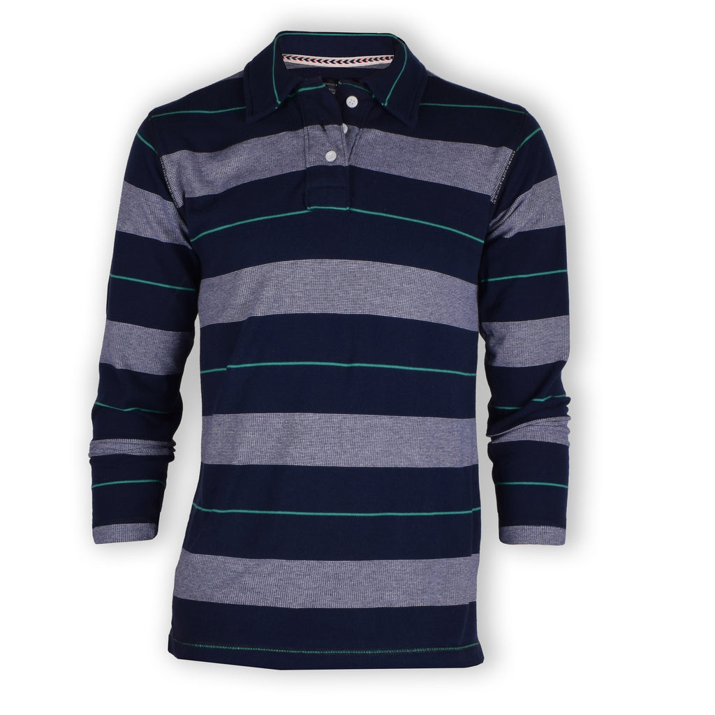 "Men's ""Zara"" P.Q Full Sleeve New Fashion Plocket Navy & Gray Striper Polo-(647)"