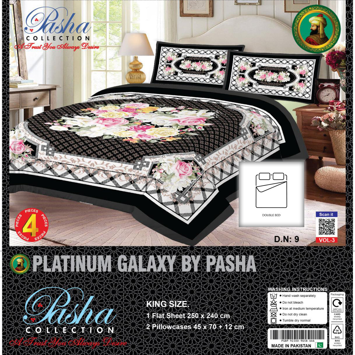 Pasha Collection Platinum Galaxy King Size Bed Sheet-NA10569