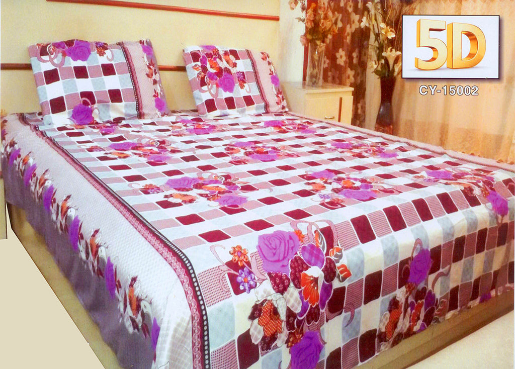 5D Oker's Island 100% Cotton Sutton Printed Double Bed Sheet & Pillow Set-(CY-15002)