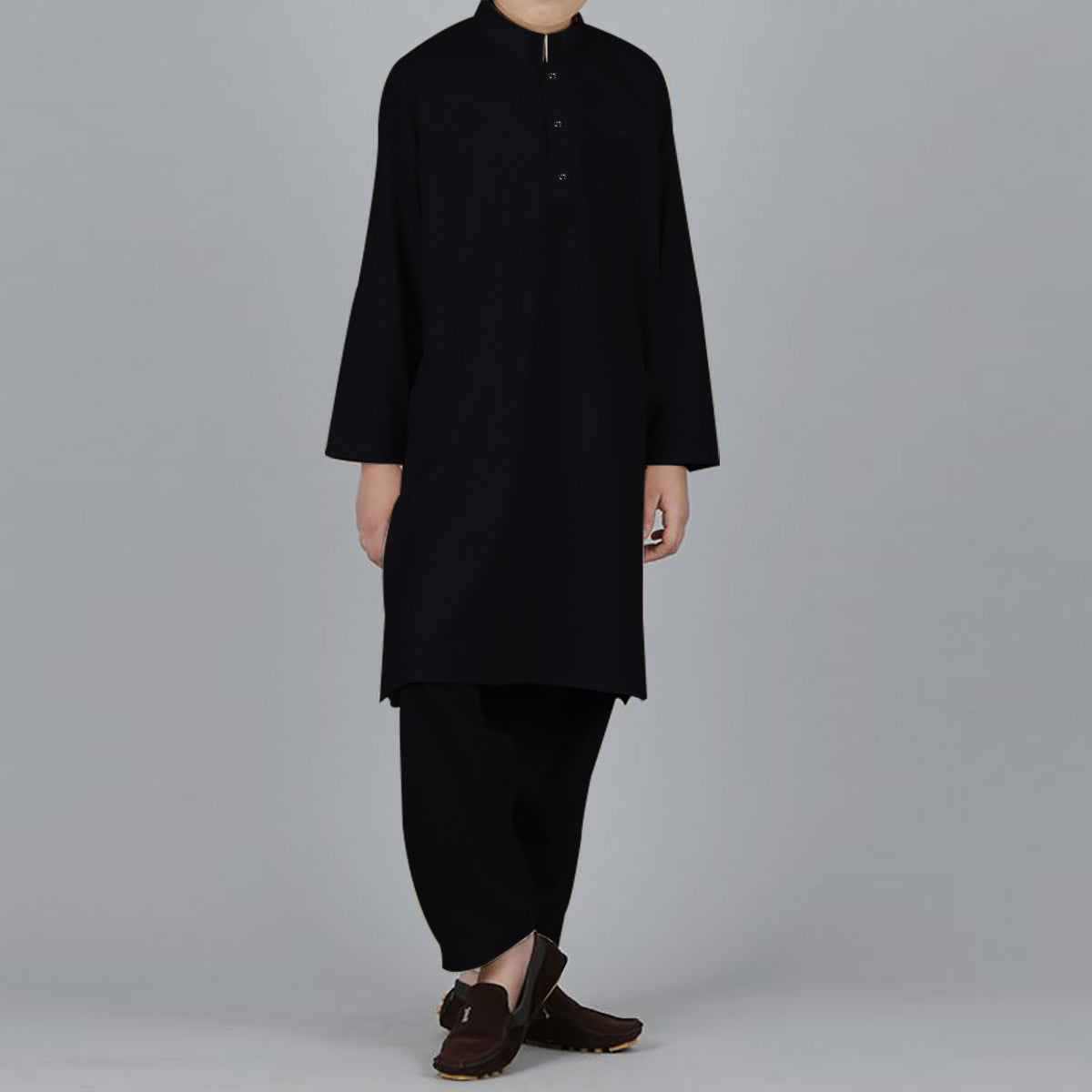 S.A 100% Cotton Kurta Shalwar For Boys-Black-BE4152