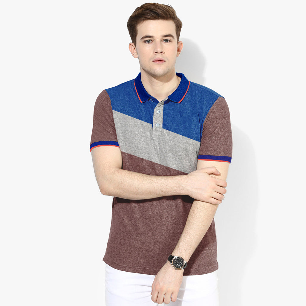 Mens Louis Vicaci Milano Muscel Light Brown-Gray-Blue Rugby Polo Shirts -RP63