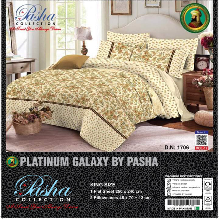 Pasha Collection Platinum Galaxy King Size Bed Sheet-NA10570