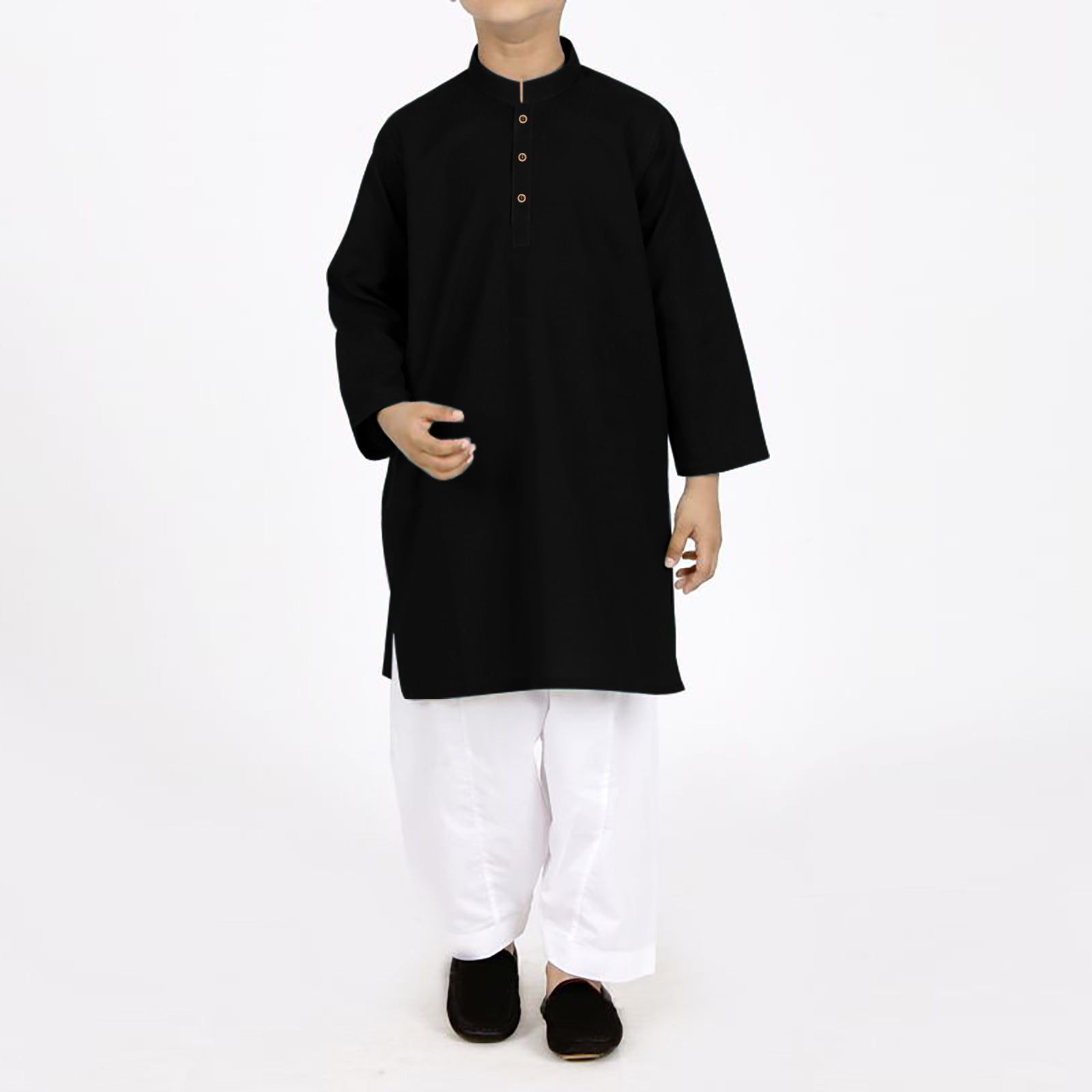 S.A Kurta Shalwar For Boys-Black & White-BE4151