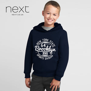 Next Fleece Pull Over Hoodie For Kids-Dark Navy-NA144