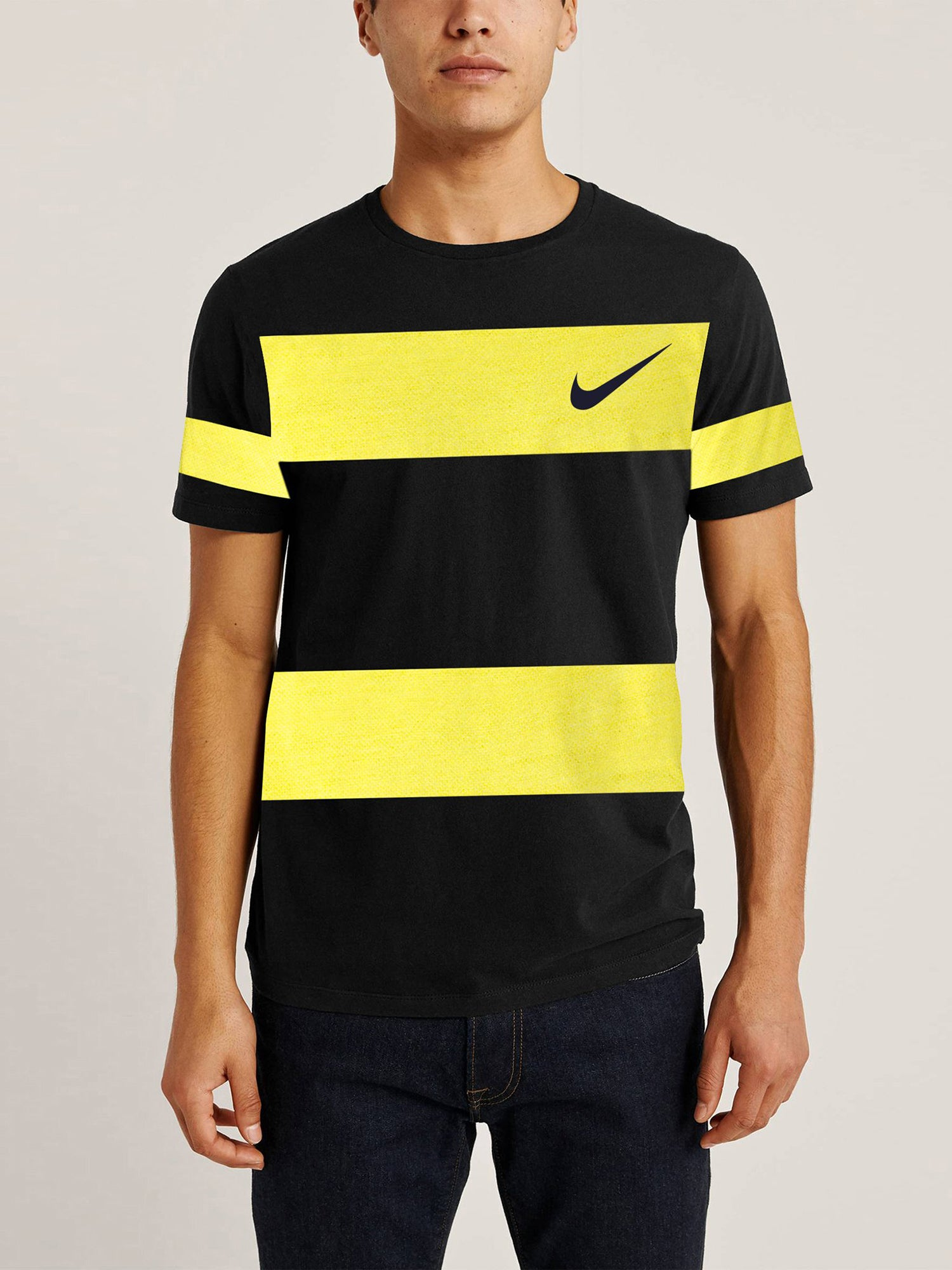 NK Summer Crew Neck Tee Shirt For Men-Black & Yellow Panel-NA11469
