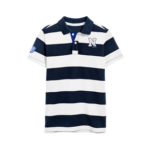 Next Single Jersey Polo Shirt For Kids-Dark Navy & White Stripe-BE5109