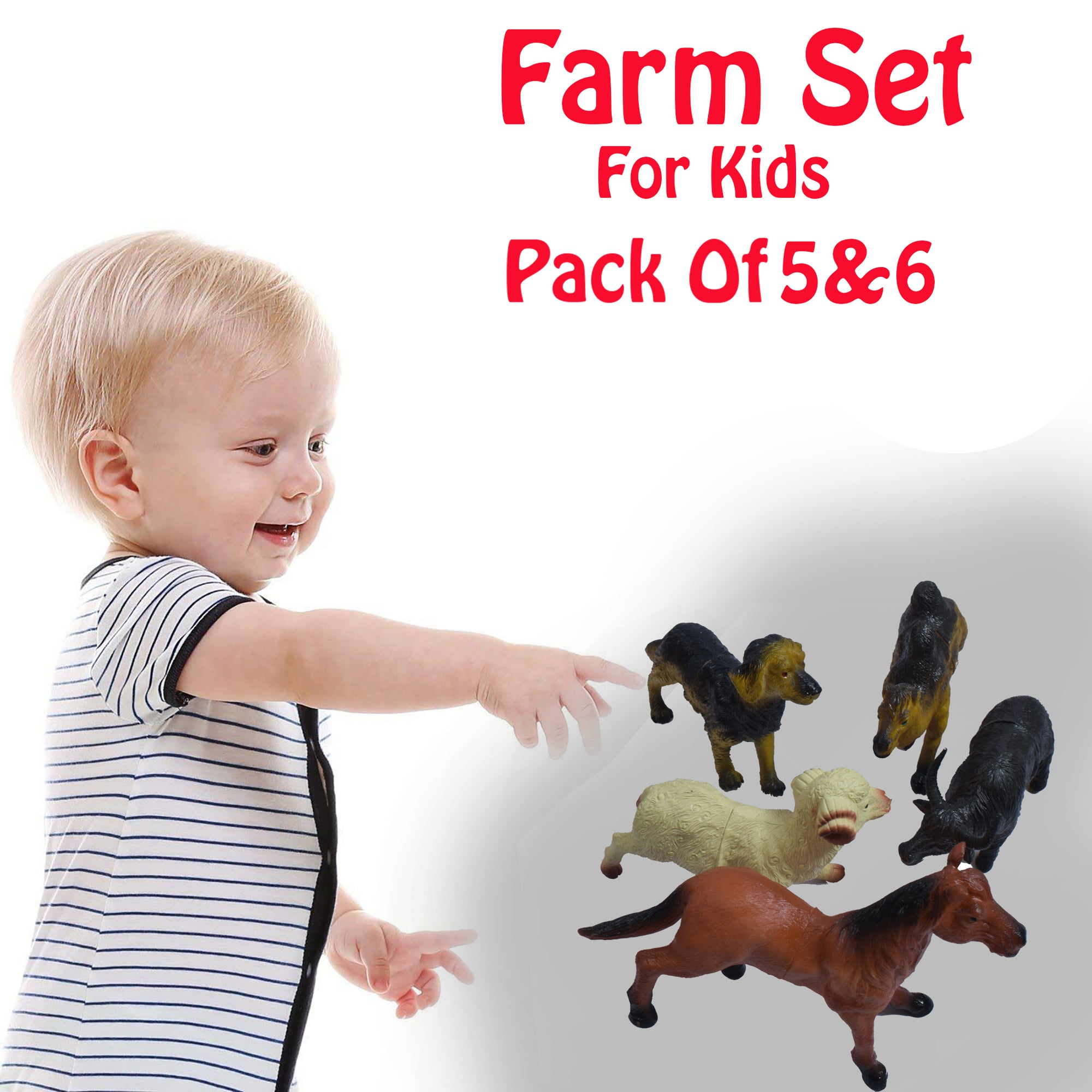 Pack Of 5 & 6 Farm Animals Action Figures For Kids -SK0380