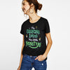 Halloween Single Jersey Crew Neck T Shirt For Women-Black-BE4650