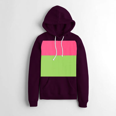 NK Fleece Pullover Hoodie For Ladies-Dark Maroon With Panel-NA10632