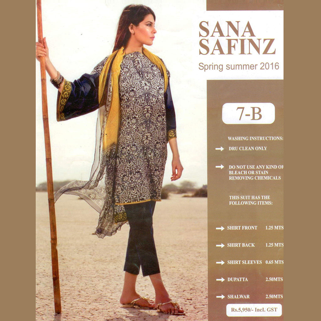 "Ladie's ""Sana Safinaz"" Unstitched 3 Piece Suite -(SS01)"