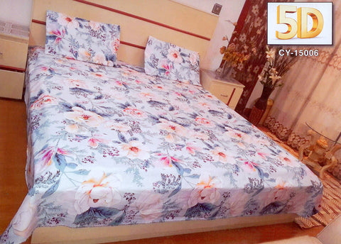 5D Oker's Island 100% Cotton Sutton Printed Double Bed Sheet & Pillow Set-(CY-15006)