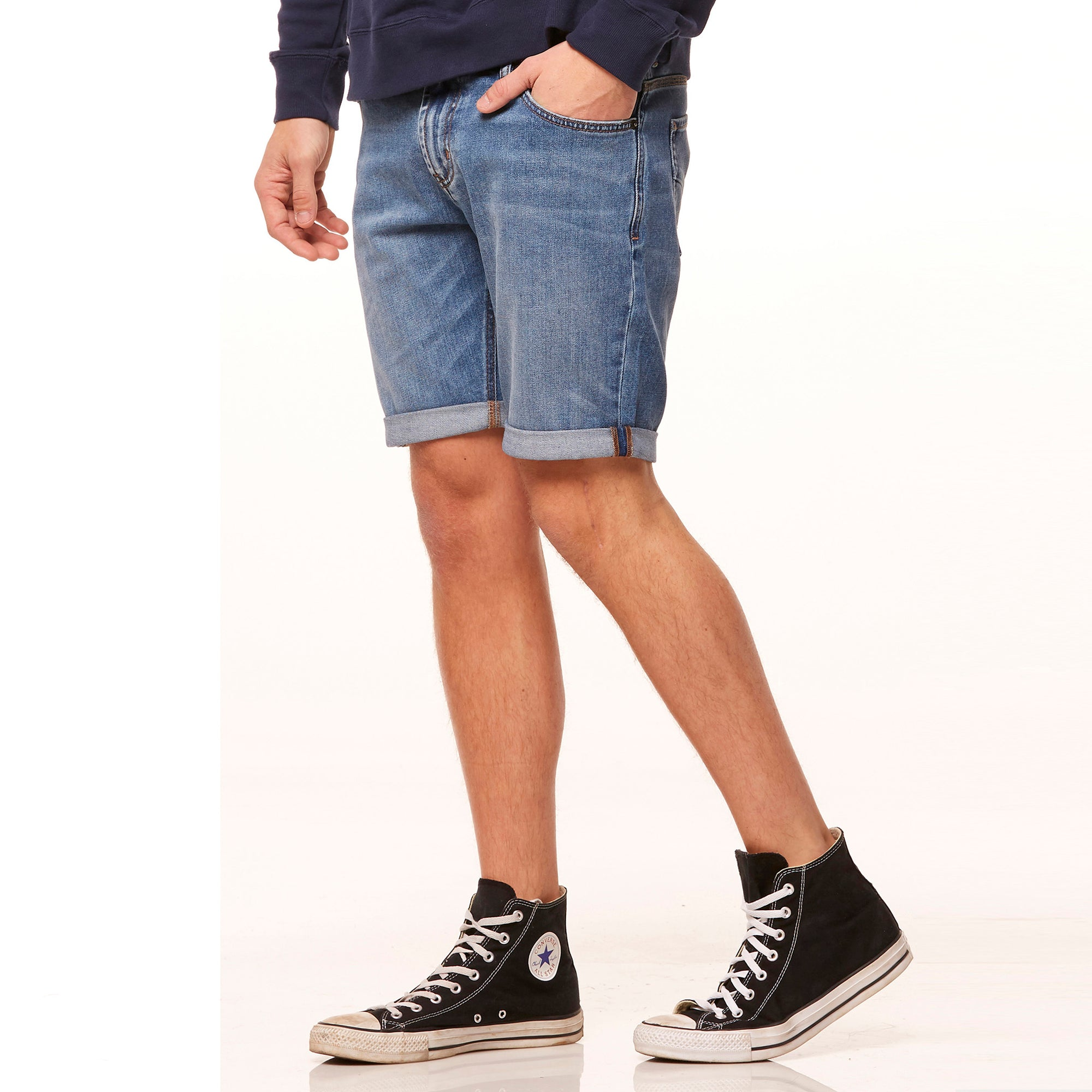 Denim Co.Denim Short For Men-Light Blue With Faded -SK0365