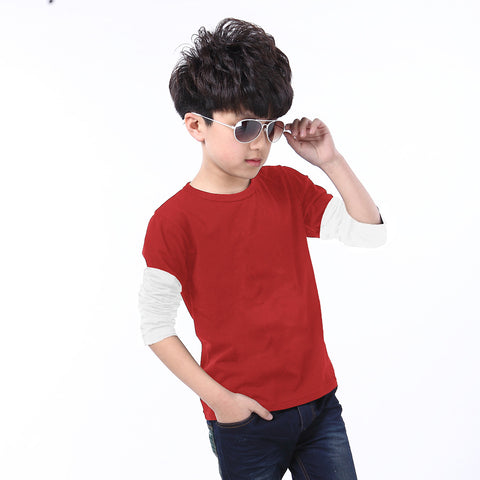Next Full Sleeve T Shirt For Kid Cut Label -Red & White-BE2179