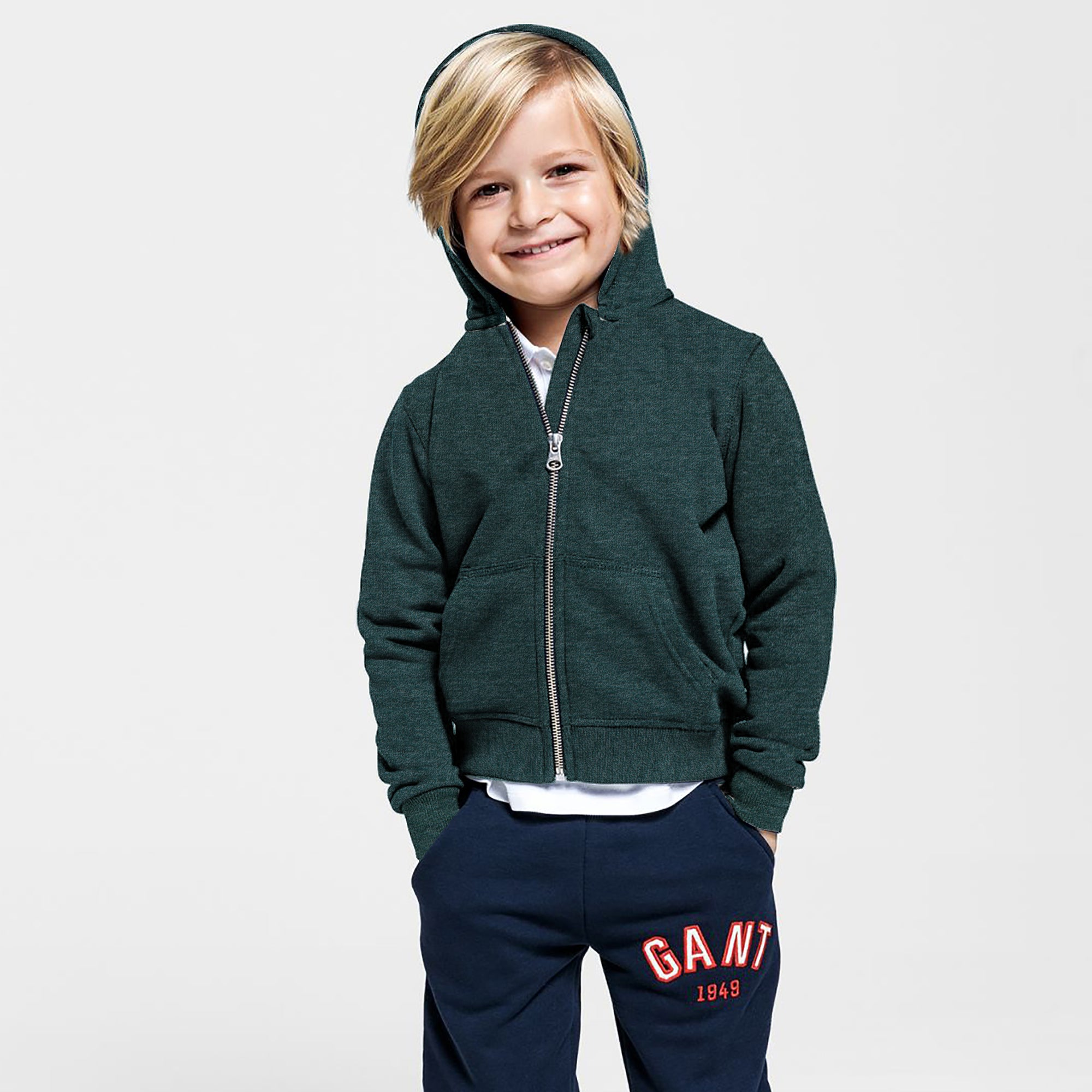 Next Fleece Zipper Hoodie For Kids-Dark Green Melange-SP860