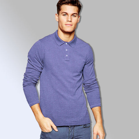 "Men's ""Zara"" Pique Polo Shirt-Blue-632"