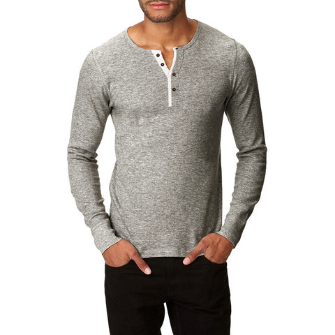 "Mens ""Next"" Cut Label Henley Thermal Shirt-Gray Melange-CN04"
