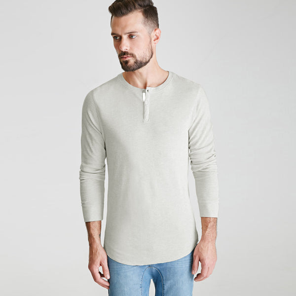 "Men's Cut Label ""NEXT"" Full Sleeve Thermal Henley Shirt-Off White -HS88"
