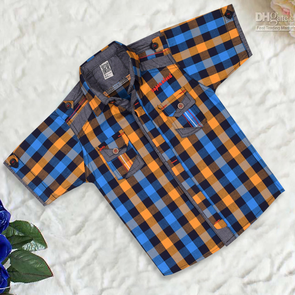 "Kid's ""TAO"" Short Sleeves Yellow Blue Stripes Stylish Casual Shirt- KC204"