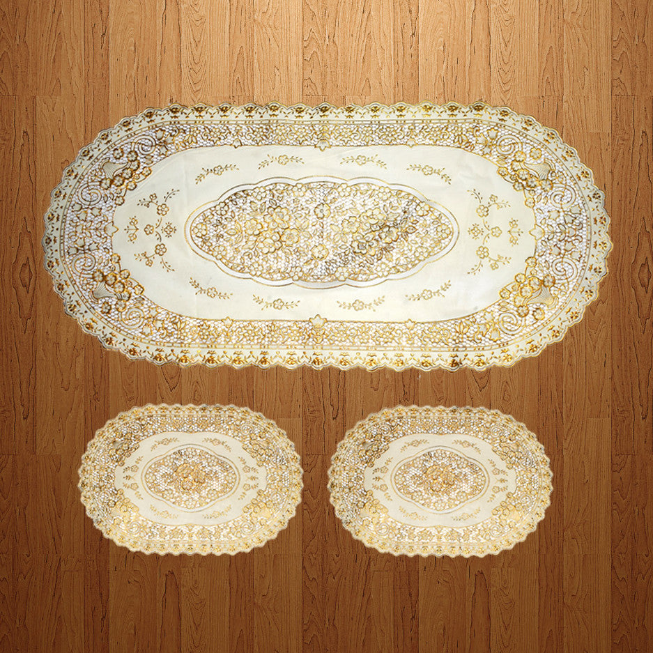 "Exclusive""Table Cover"" 3 Pieces -Golden -(698)"