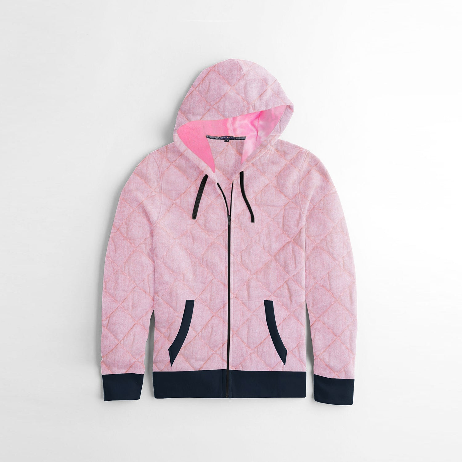 Tommy Hilfiger Quilted Zipper Hoodie For Kids-Light Pink Melange-NA10172