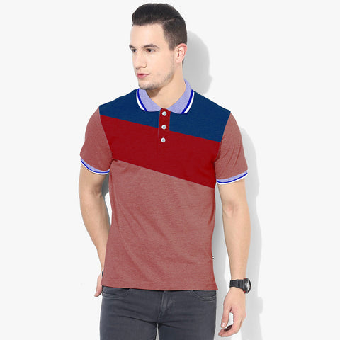 Mens Louis Vicaci Milano Muscel Fit Light Ultra Marine Red & Light  Burgundi Melange Rugby Polo Shirts -RP42