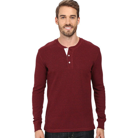 "Men's Cut Label ""NEXT"" Full Sleeve Thermal Henley Shirt-Burgundi -HS86"