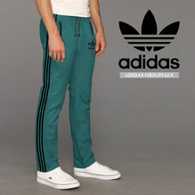 Adidas Cotton Trouser For Men-Dark Sea Green with Black Stripes-BE2333