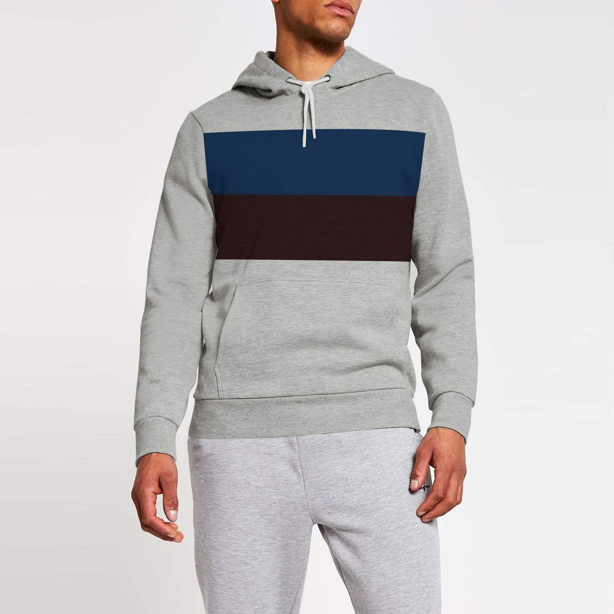 New Stylish Terry Fleece Pullover Hoodie For Men-Grey Melange With Dark Blue & Dark Maroon Panel-SP1665
