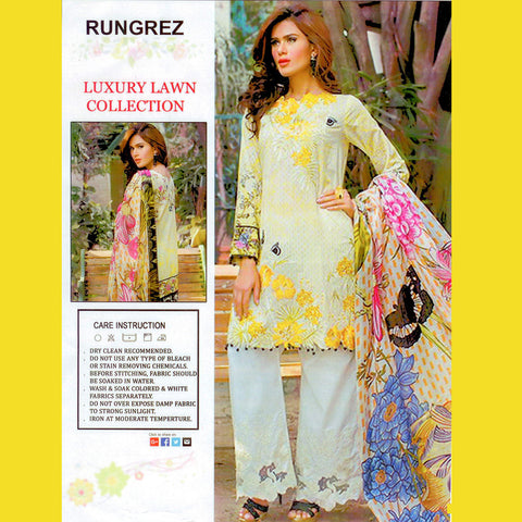 "Ladie's ""RangRez"" Unstitched 3 Piece Suite -(RR01)"