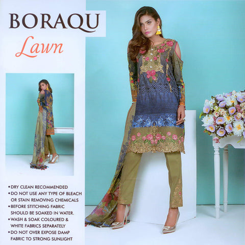 Boraqu Unstitched 3 Piece Ladies Suit-ULS26