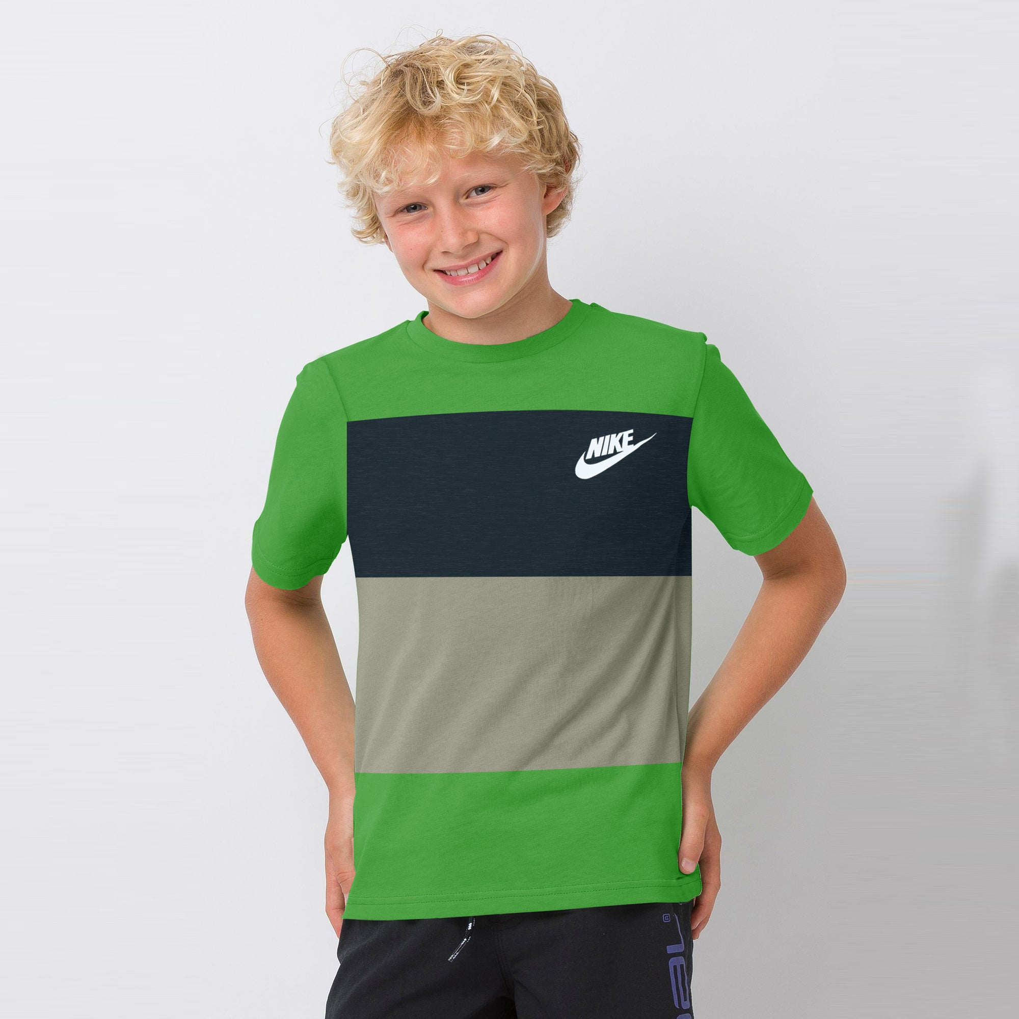 NK Crew Neck Single Jersey Short Sleeve Tee Shirt For Boys-Green with Navy Melange & Grey Melange Panel-SP1966