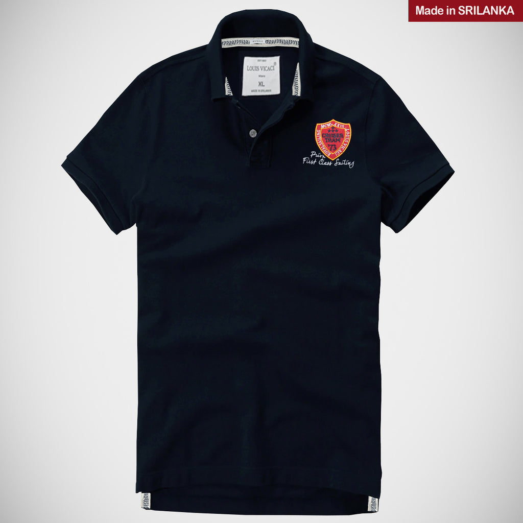 "Men's ""LOUIS VICACI"" Milano Muscle Fit Navy Polo With Red Aplic Burgundi Embroidery-LV10"