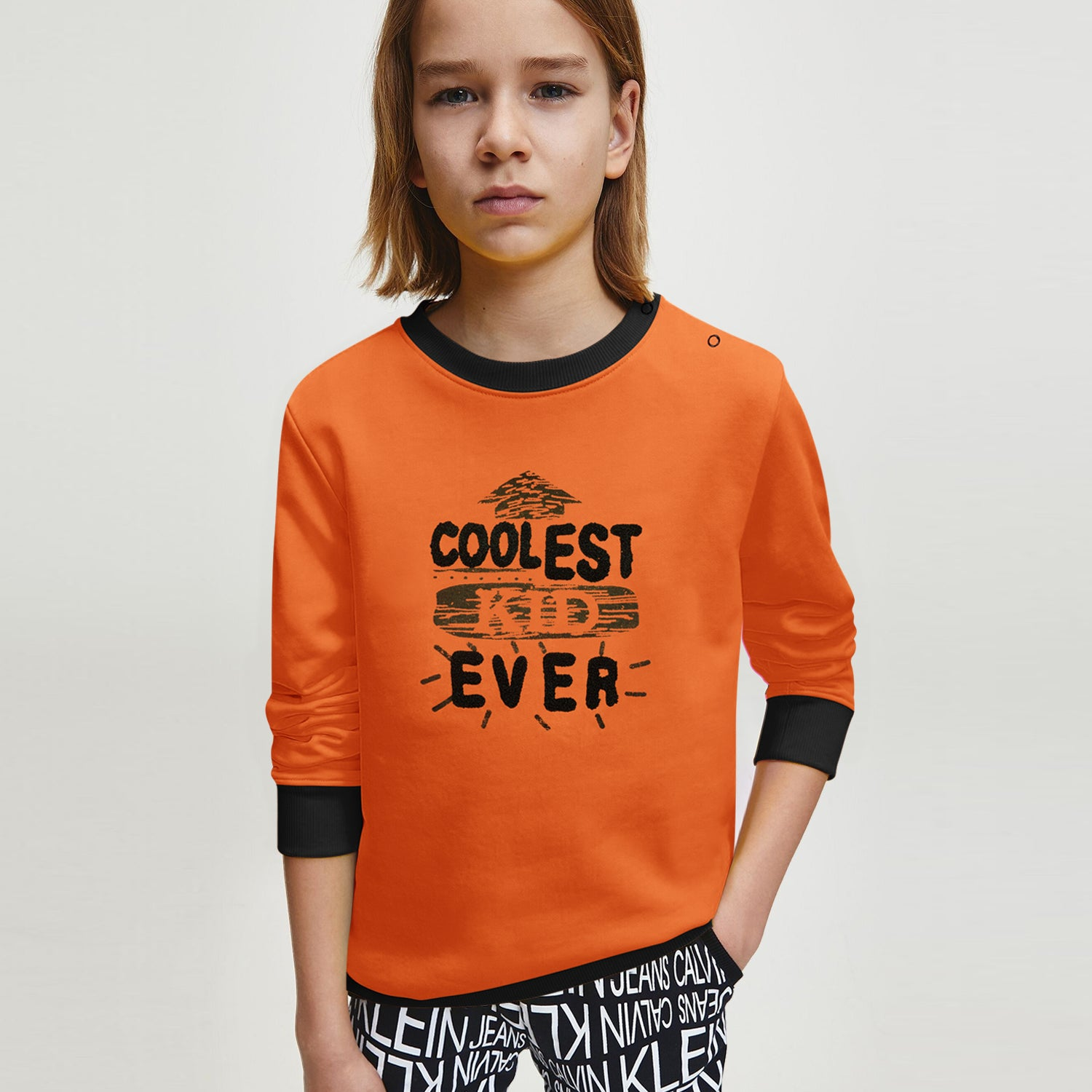 Baby Club Fleece Sweatshirt For Kids-Blaze Orange with Print-BE12803