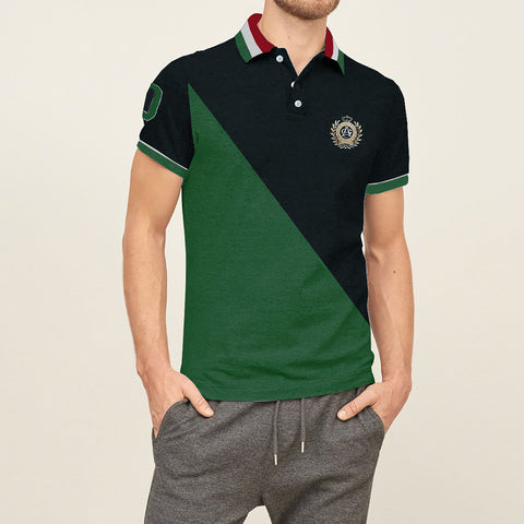 Mens Louis Vicaci Milano Muscel Dark Navy-Green Rugby Polo Shirts -RP033